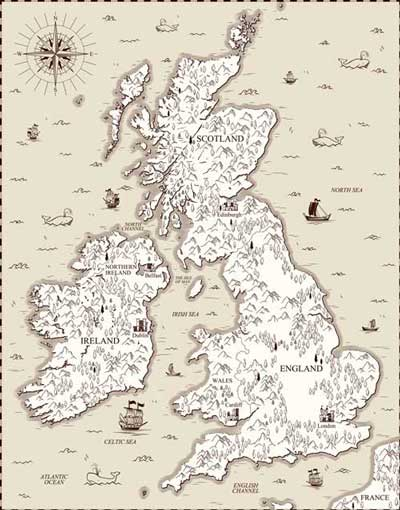 An old map of Britain and Ireland.